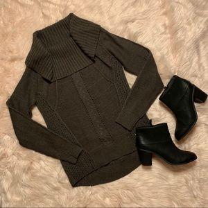 Open Weave Knit Cowl Neck Sweater